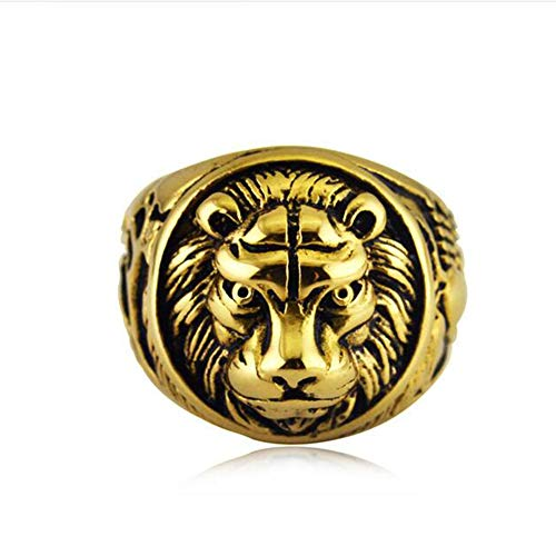 ZHIRCEKE Vintage Lion Head Ring Sterling Silver 925 for Man Woman Size,Gold,13