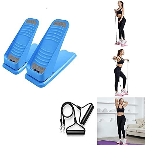 LUDAXUE Mini Fitness Treair Stepper Mini Stepper mit Widerstandsbändern Einstellbare Twist Stepper Stepping Tragbare Treppe Stepper Übungsmaschine Geeignet für Home Training Workout (Color : Blau)