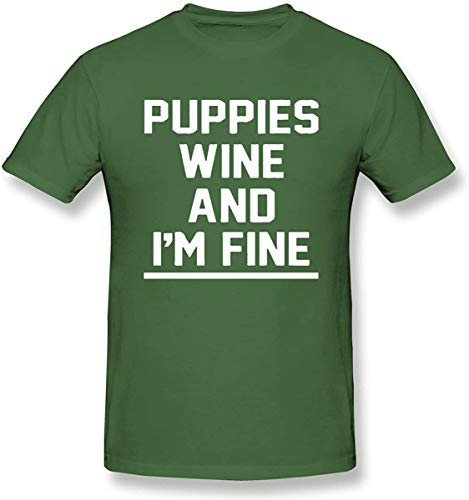 YoungerMan Custom Puppies Wine and I'm Fine Men's Classic Short Sleeve T-Shirt