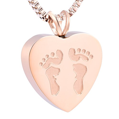 XSMZB Always in My Heart Baby Feet Ashes Keepsake Urn Pendant Necklace Cremation Urns Memorial Jewelry (Rose Gold)