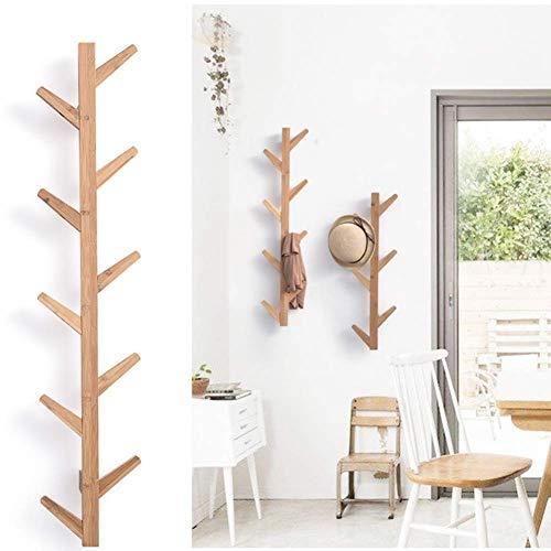 POETRY Colgador de bambú para pasillo y pared de diseño moderno, organizador de almacenamiento para chaquetas, gorras de béisbol, bufandas, 123 x 22 x 7 cm