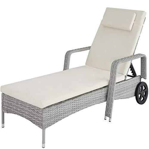 TecTake 800077 Chaise Longue Bain de Soleil en Résine Tressée Transat - diverses Couleurs au Choix - (Gris Clair | No. 403780)