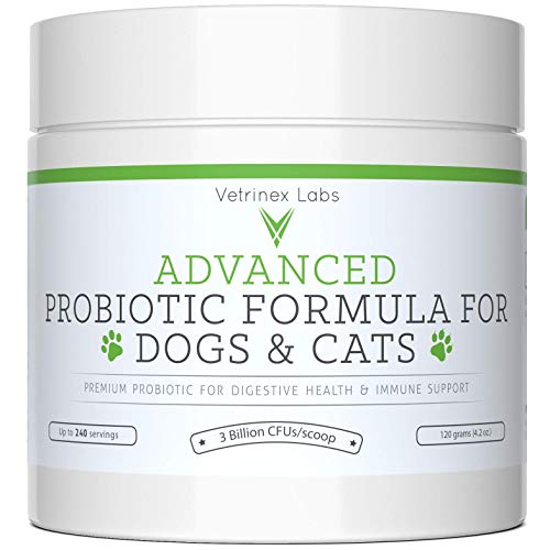 Probiotics for Dogs and Cats with Prebiotic - 240 Servings. 3 Billion CFU. 7 Strains - Best Supplement for Relief from Diarrhea, Skin & Yeast Infections, Allergies, Gas, Itch, Bad Breath & Stomach