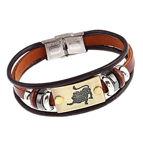 ODKKAYA 12 Constelación pulsera de cuero retro tejido multicapa ajustable pulsera de cuero de vaca con cierre de acero inoxidable para hombres mujeres parejas, Cuero,
