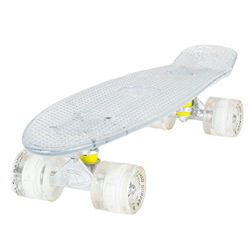 Land Surfer® Retro Cruiser, komplettes Skateboard mit durchsichtigem 56-cm-Deck - ABEC-7-Kugellager - PU-LED-Räder (59 mm), die bei Bewegung aufleuchten + Tragetasche - Klares Deck/weiße LED