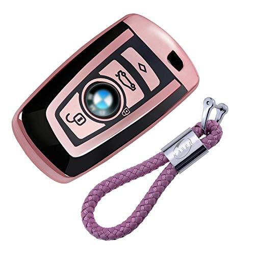 kaser Autoschlüssel Hülle für BMW – Cover TPU Silikon Hochglanz Schutzhülle Schlüsselhülle für BMW Keyless Serie 1 3 5 7 X1 X3 X4 X5 F30 E30 (Rosegold)