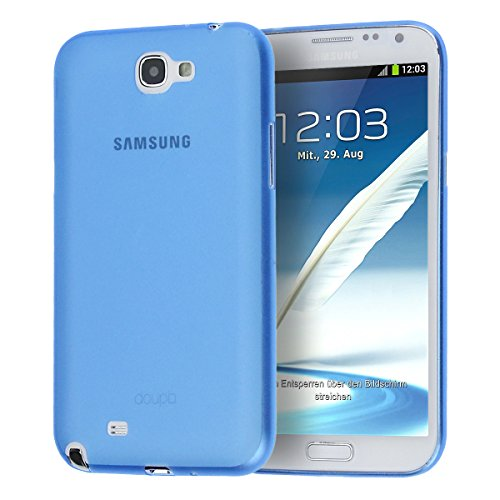 doupi UltraSlim Hülle für Samsung Galaxy Note 2 Note II, Ultra Dünn Fein Matt Handyhülle Cover Bumper Schutz Schale Hard Case Taschenschutz Design Schutzhülle, blau