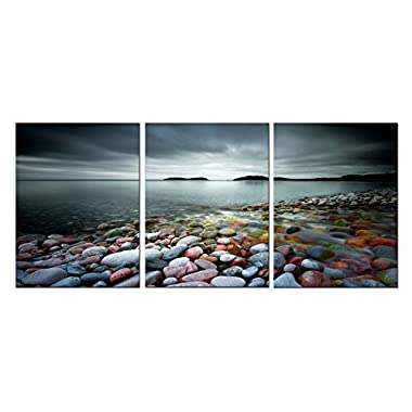 Amoy Art 3 Panels The Colorful Stones under Sunset Landscape Canvas Prints Wall Art for Home Decorations Stretched Frame Ready to Hang (20x28inx3pcs)