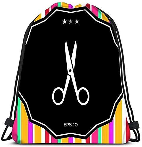 IUBBKI Kordelzug Taschen Rucksack, Schere Symbol Zeichen und Symbole Elemente Reiserucksäcke Tragetasche Rucksack