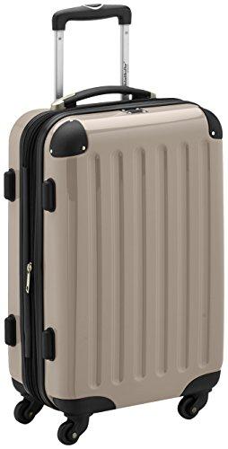HAUPTSTADTKOFFER - Alex - Handgepäck Hartschalen-Koffer Trolley Rollkoffer Reisekoffer Erweiterbar, 4 Rollen, TSA, 55 cm, 42 Liter, Champagner