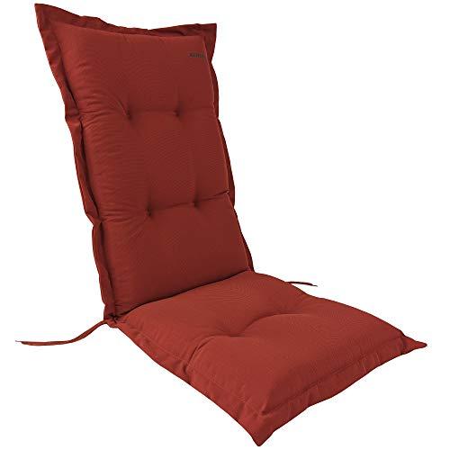 Kettler Hochlehner Auflage für Gartenstühle 120x48 cm Dessin 767 Terracotta - 9cm Dicke Polsterauflage mit Befestigungskordeln und Halteband