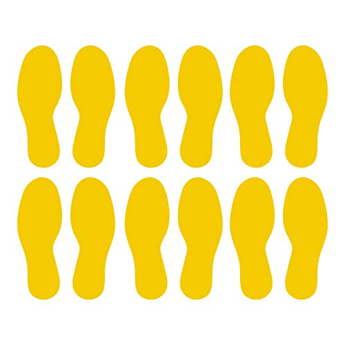 LiteMark Durable Gloss Finish Yellow 9 Inch Medium Size Footprint Decal Vinyl Stickers | Great for Floors, Ceilings, Walls, and Most Smooth Surfaces | Pack of 12 Footprints (6 Pairs)