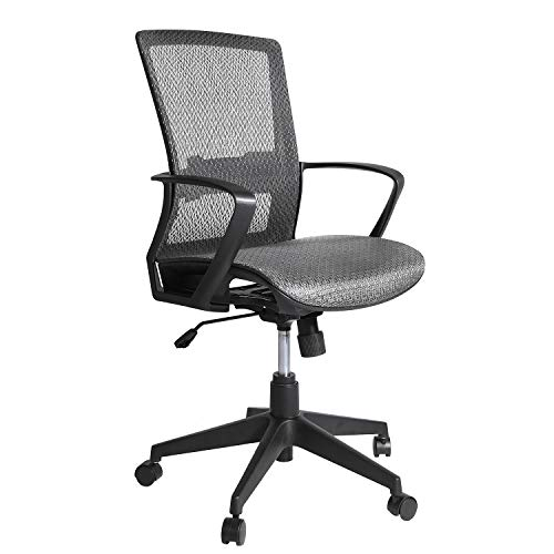 Office Chair, Swivel Mid Back Mesh Executive Chair, Adjustable Height Rolling Computer Task Desk Chair with Armrest Lumbar Support for Home Office, Grey