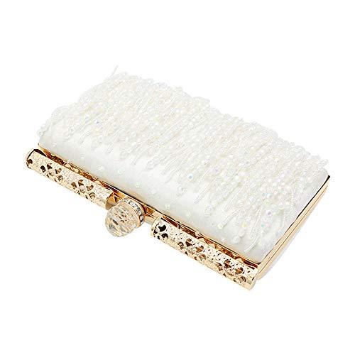 JFJWH Damen Abendtasche Clutch Umhängetasche ,Mode rechteckiges Kleid Perlen Quaste kleine quadratische Tasche @ Champagne,Abend Party Abschlussball Handtaschen Hochzeit Braut