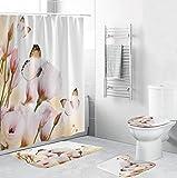 ZHEBEI Cortina de ducha de tela rosa mariposa cortina de baño de flores antideslizante alfombra de inodoro alfombra alfombra alfombra alfombra de baño set de decoración del hogar