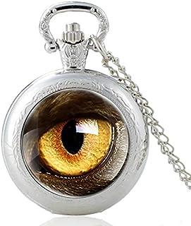 New Eagle Eye Design Glass Cabochon Quartz Pocket Watch Vintage Men Women Pendant Necklace Chain Clock Yang (Color : Bronze)