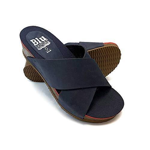 ZAPATISIMOS - Mules Mujer Sandalias de Vestir Punta Abierta de Piel Plantilla de Gel Zueco de Piel Primavera Verano