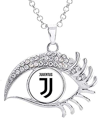 Yiffshunl Collar Collar Collar 16mm Inter Liverpool Madrid Juventus FC Barcelona Equipo Foto Cristal Botón a Presión Collar Blanco Cristal Forma Neklace para Mujer