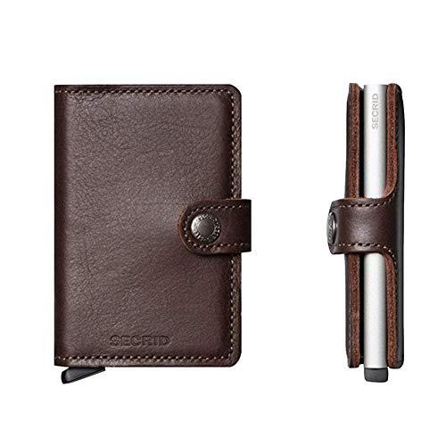Secrid – Portacarte di credito, rigido, in pelle e alluminio, marrone