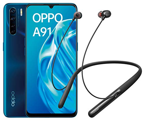 "OPPO A91 - Smartphone de 6.4 "" AMOLED, 8GB/128GB, Octa-core, cámara trasera  48 + 8 + 2 + 2 MP, cámara frontal 16 MP, 4.000 mAh, Android 9, color Azul + Enco Q1 de regalo"