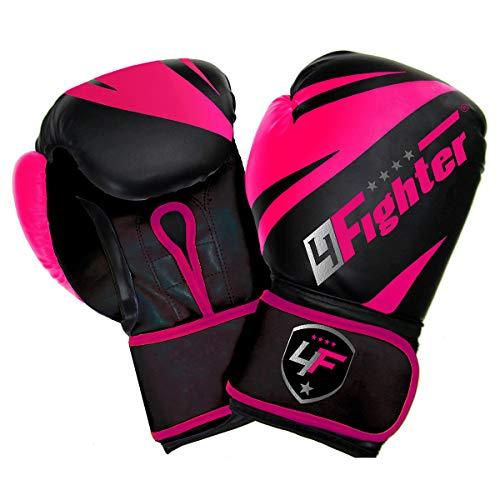4Fighter Pink-Arrow Cool Line Boxhandschuhe pink-schwarz aus PU, Unzen:12 oz