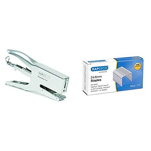 Rapesco Porpoise - Grapadora metálica de tenaza, 50 hojas de capacidad, usa grapas 26 y 24/6-8 mm + Grapas - Caja de 5000 grapas 24/6mm (22/6), uso habitual en la mayoria de grapadoras