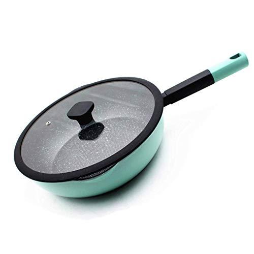 XXDTG Wok - anodizado duro antiadherente salteados Wok Pan con tapa, asas azules wok | antiadherente Sartén con el templado (Size : Medium)