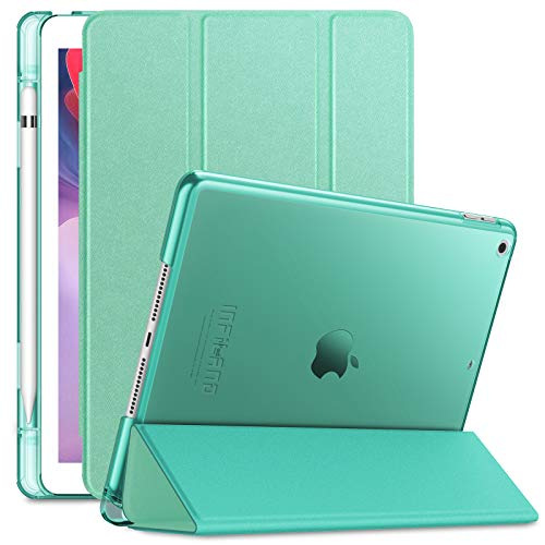 INFILAND Funda para iPad 7, iPad 8 (10,2 Pulgadas, 7ª 8ª Generación, 2019 2020 Modelo), Delgada Translúcido Case Smart Cover con Portalápiz con Auto Reposo Activación Función, Menta Verde