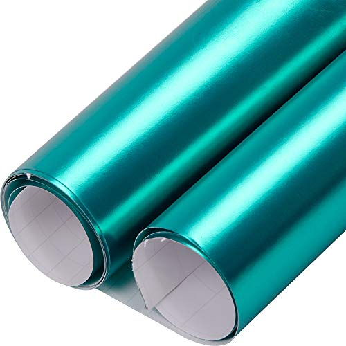SHANG-JUN Satin Matte Chrome Vinyl Wrap Air Release Grade Film Wrap Roll - Lake Green - 20'x60' in / 1.52x0.5m Easy to install