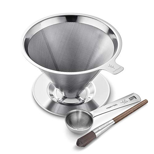 Soulhand Stainless Steel Coffee Filter Pour Over Coffee Filter Metal Filter Cone Slow Drip Coffee Filter Paperless Double Layer Filter with Cup Stand for 1-4 Cup