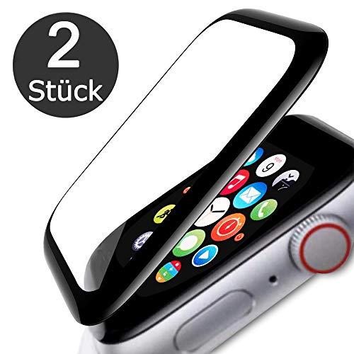 FANIER Schutzfolie Panzerglas Kompatibel für Apple Watch 44mm Series 5/4, 3D Volle Bedeckung 9H Hartglas Schutzglas Screen Protector Displayschutzfolie für iWatch Series 5/4 44mm [2 Stück]