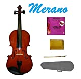 MERANO 1/16 Size Natural Acoustic Violin with Case and Bow+Free Rosin + Merano Brand E String