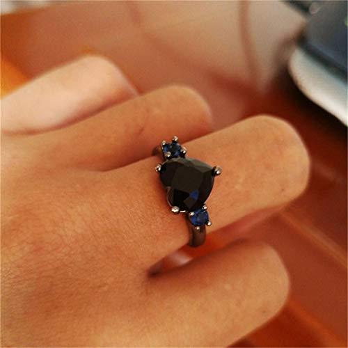 Weisin - Anillo de Compromiso con Forma de corazón y Diamantes geométricos Redondos de Cristal Artificial, para Mujer, Cobre, Negro, 6