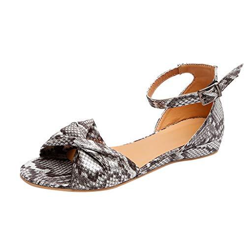 Sandales Plates Femme,Honestyi Escarpins Rome Chic Chaussures Bout Ouvert Dame Sandales Bouche de Poisson Tongs Respirant Shoes Ete de Plage Escarpins Léopard