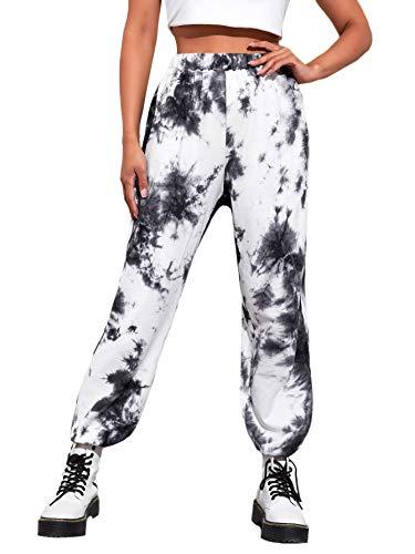 SweatyRocks Women's Elastic Waist Pants Yoga Workout Sports Jogger Sweatpants Tie Dye Black X-Large
