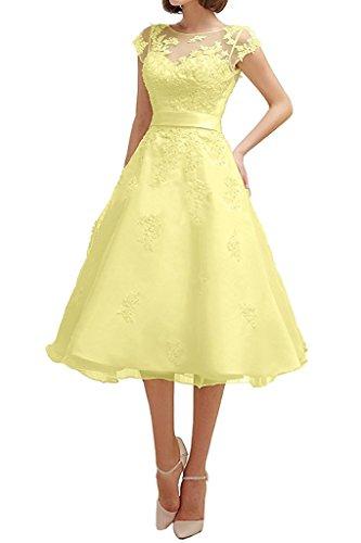 Dresses Onlie Tüll A-Linie Kurzarm Hochzeitskleider Wadenkurz mit Spitze Applikationen Brautkleid-Gelb-38