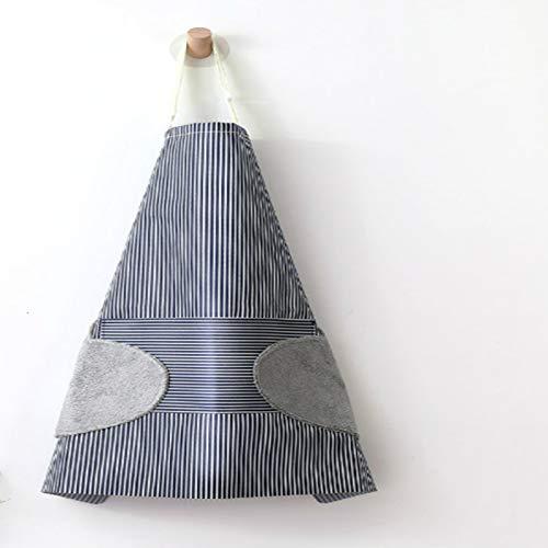SENFEISM Delantal de chef para mujer con bolsillos ajustable a rayas impermeables para el hogar y la cocina, con manos limpias, toallas de terciopelo coral
