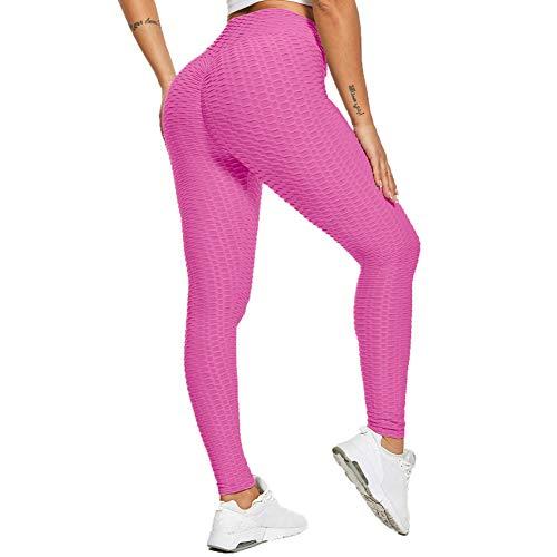 Tiktok Leggings Uk Womens Scrunch Bums Leggings Vita Alta Yoga Pantaloni Honeysculpt Allenamento Esecuzione Collant Rosso rosato M