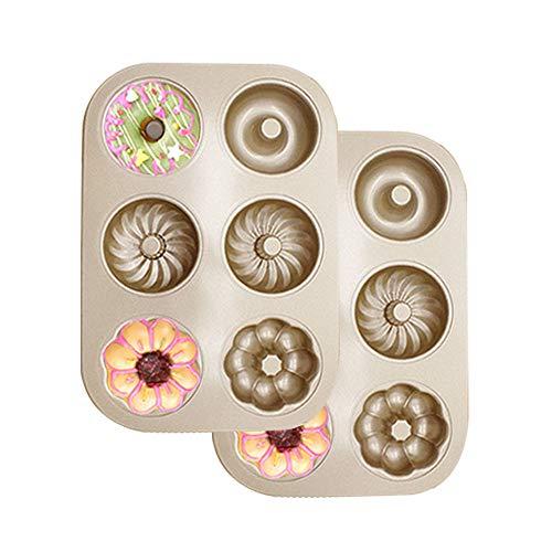 WasonD 2 Stück 6 Löcher Donutform Donut Backform Kohlenstoffstahl Hitzebeständig & Antihaftend Muffin Backformen Kekse Kuchenform für Backofen - Gold Krapfen