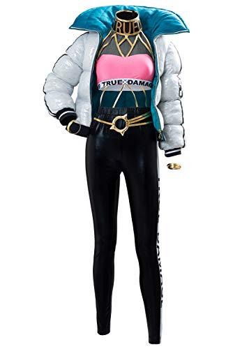 RedJade League Legends LOL DAÑO Verdadero Qiyana Outfit Traje de Cosplay Disfraz Mujeres XL