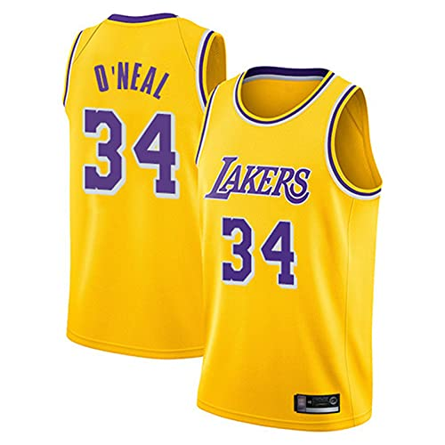 GAOJR Lakers Jersey Oneal #34 Chaleco De Baloncesto Camiseta Sin Mangas   Secado Rápido Transpirable Yellow-M