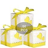 Cajas de souvenir para peladillas, con corazones y forma de regalo con lazo liso - 50 unidades (Amarillo)