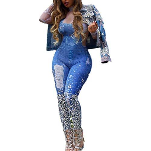 Damenhose mit hoher Taille Europäische und amerikanische Mode Denim Hosenträger Bedruckter Overall High-Neck Slim Jumpsuit X-Large