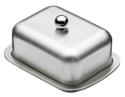 KitchenCraft MasterClass Butterdose mit Deckel, Edelstahl, Doppelwandig, Butterschale, gebürsteter Edelstahl, hält Butter bis zu 5 Stunden kühl und streichbar, 16 cm x 12.2cm x 9 cm, 250 g Kapazität