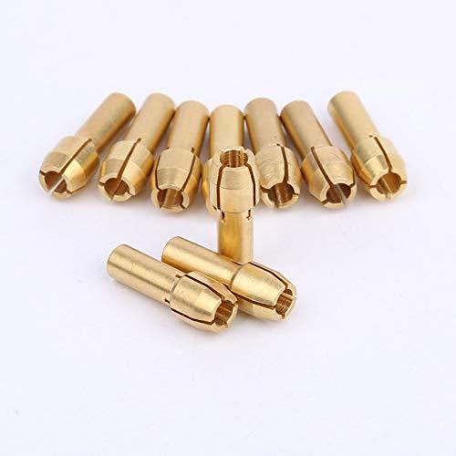 LIXUDECO 10 unids/set mini portabrocas adaptador para DREMEL Brass Collect 3.2mm/1/8 para herramientas eléctricas rotativas que sostienen vástago de 2.9-3.2mm