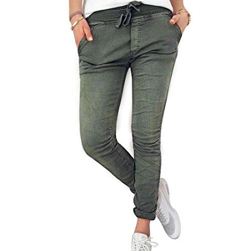 Inlefen Pantalones Largos para Mujeres Damas - Pantalones Ajustados cómodos en Cintura elástica de Moda Pantalones Deportivos de Cintura Alta en Yoga de Moda de Color Puro