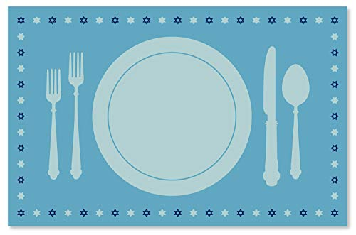 Clearstory Table Placemat Set for Hannukah, Stylish Hanukkah Decorations with Star of David Border On Sky Blue Background, Made of Thick Quality Paper (17 x 11 Inches, Rectangle, Set of 12 Placemats)
