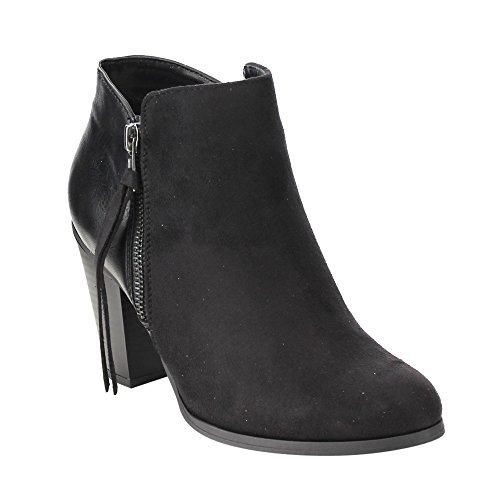 SODA FE69 Women's Classic Fringes Side Zipper Stacked Block Heel Ankle Booties, Color:Black, Size:10