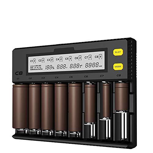 Caricabatterie Universale 8 slot per AA e AAA C e D Batterie Ricaricabili con LCD Display e Porta USB,Multipla Caricabatterie con Tecnologia di Rilevamento Intelligente per Batterie Ricaricabili