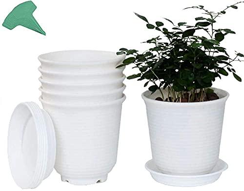 Planter Art Vase, 6Pcs Plastic Planter Flower Pots, Succulents Pots with Drainage and Tray Container Nursery Seedling Container for Bonsai Plants(with 15 Pcs Plant Labels) Red-18.5 * 18.5cm ,Succulent